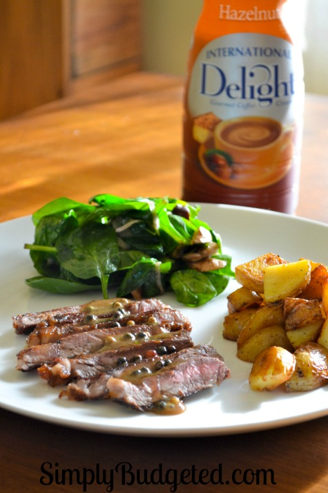International Delight Hazelnut Cream Sauce over Strip Steak