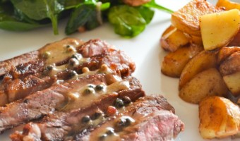 Stripe Steak with Hazelnut Cream Sauce