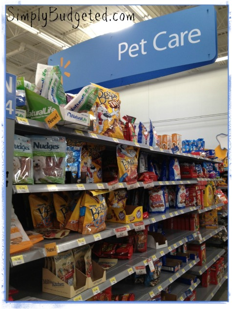 Pet Care section at Walmart