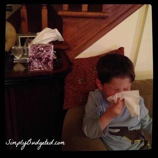 Kleenex blowing nose