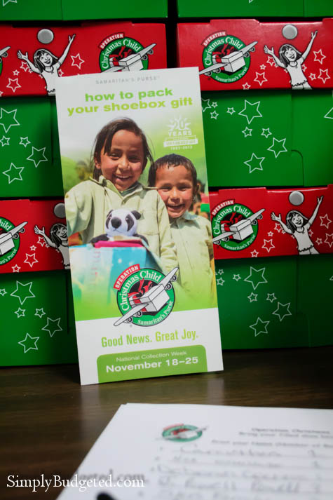 Operation Christmas Child Donation Table