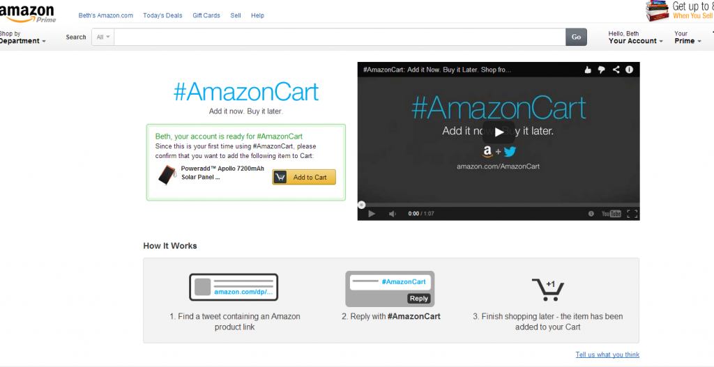 AmazonCart Enable Screen