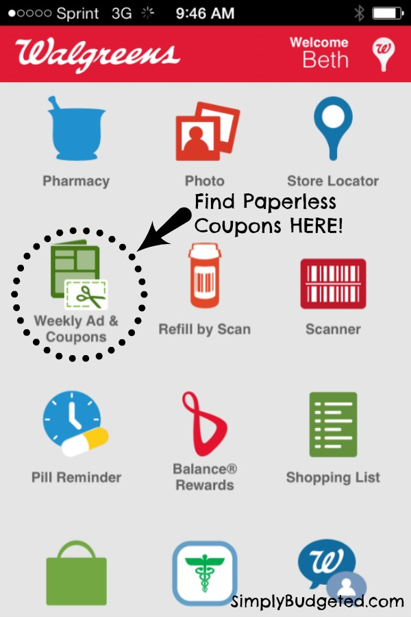 Where to find Paperless Coupons on Walgreens App