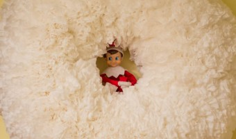 Elf on the Shelf: Day 3 Puffy Snow Wreath