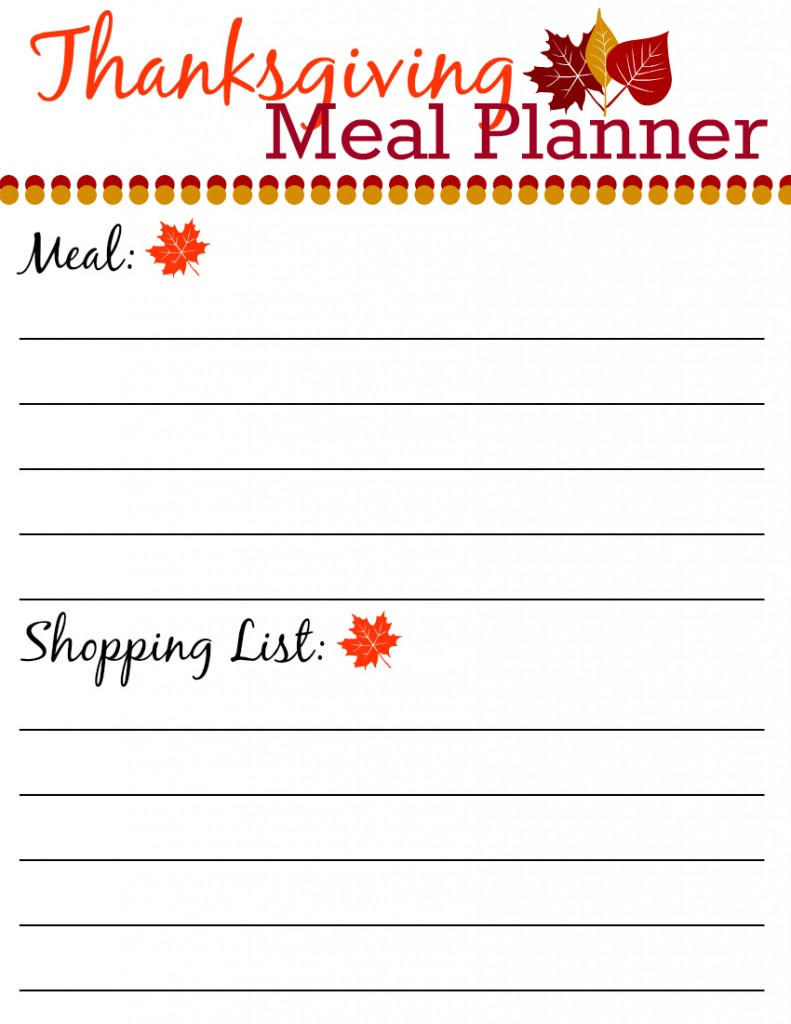8.5 x 11 Template Thanksgiving meal planner