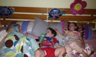 Wordless Wednesday: Three little monkeys sleeping on the bed