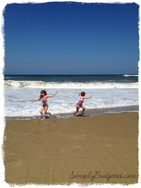 Sisters Running Away from a Wave - Outer Banks, NC - July 2013