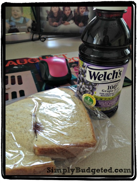 Welch's Juice and sandwich at work