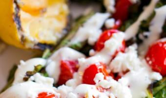 Charred Romaine Salad with Burst Tomatoes