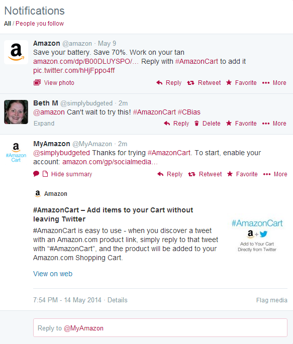 AmazonCart Twitter reply