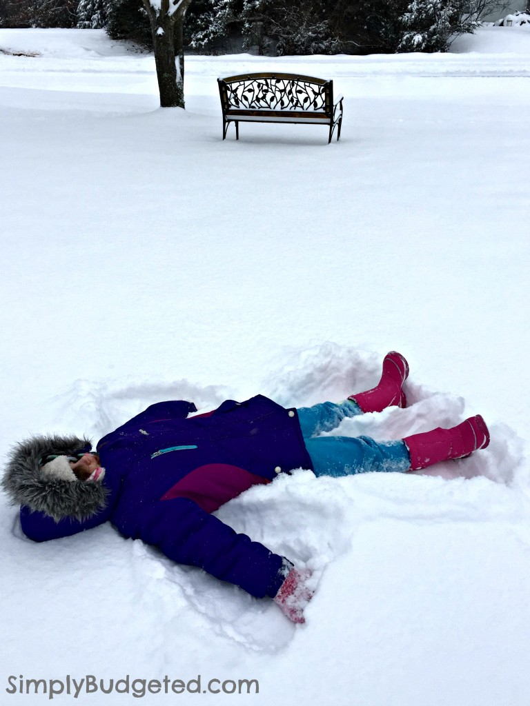 snow angel with boots