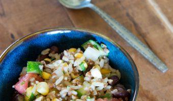 Mini Potluck Party with Confetti Rice and Bean Salad